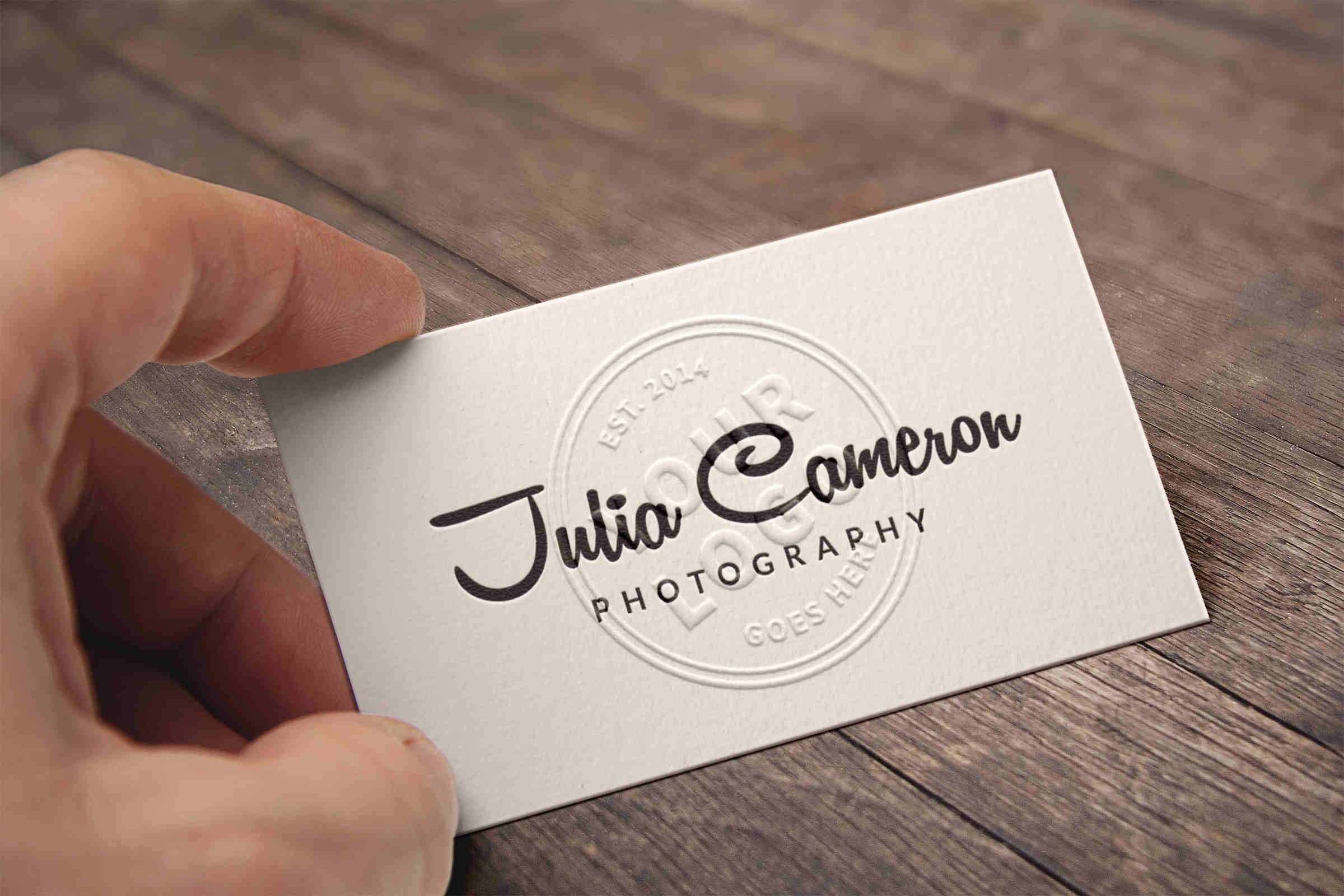 Realistic Embossed Business Card Mockup