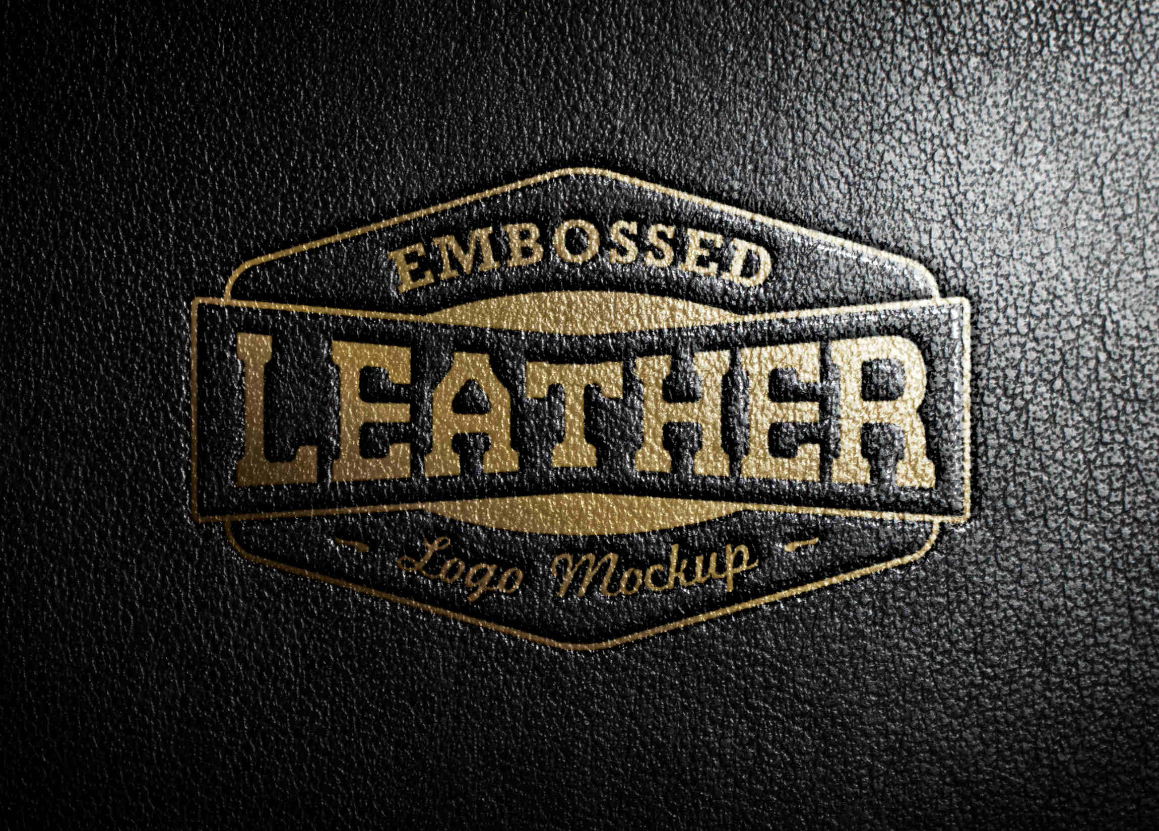 Realistic Embossed Leather Stamping Logo MockUp