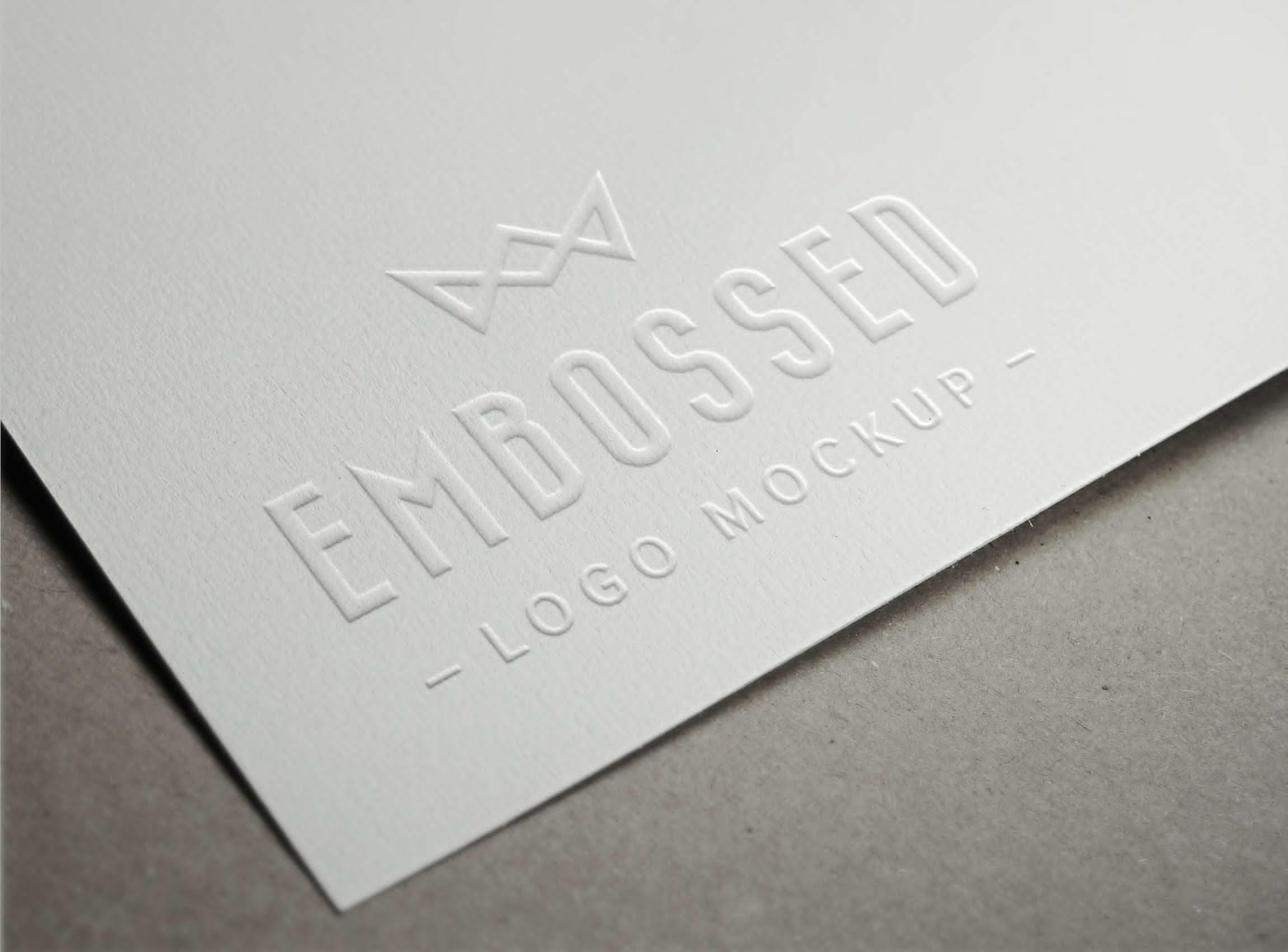 Clean Embossed Paper Logo Mockup