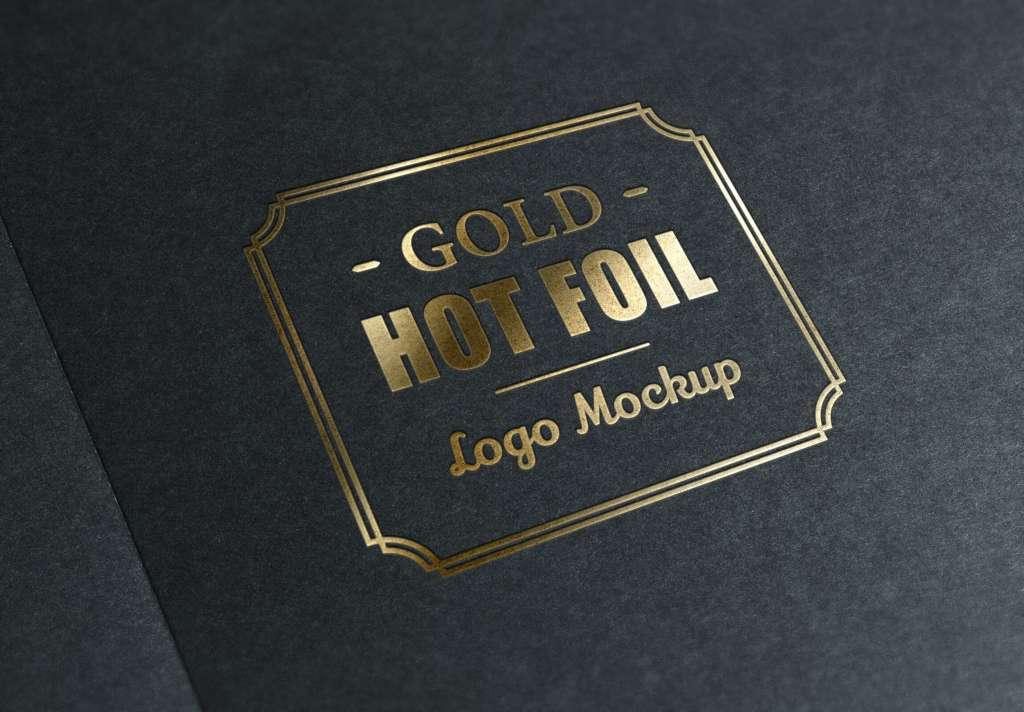 Gold Metallic Foil Stamping Logo Mockup