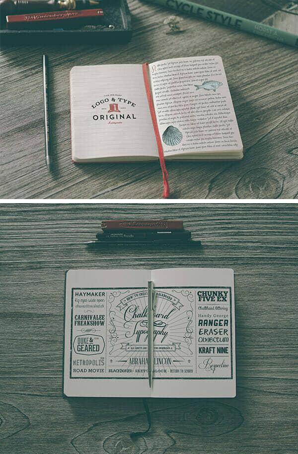 Vintage Hip Notebook Mockup