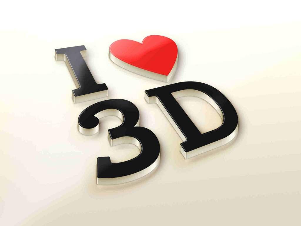 Realistic I Love 3D Logo MockUp