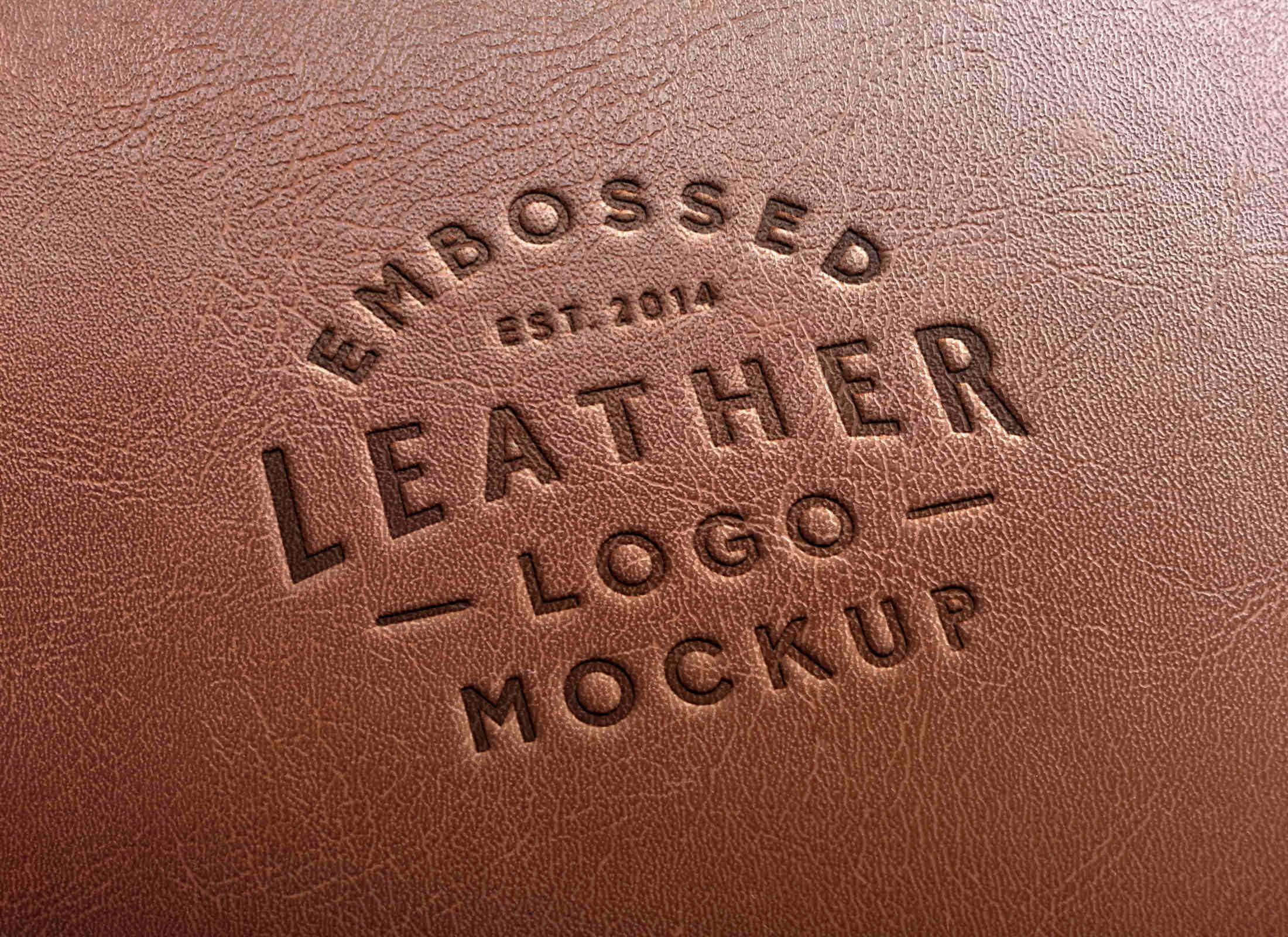 Embossed Leather Stamping Logo Mockup #2