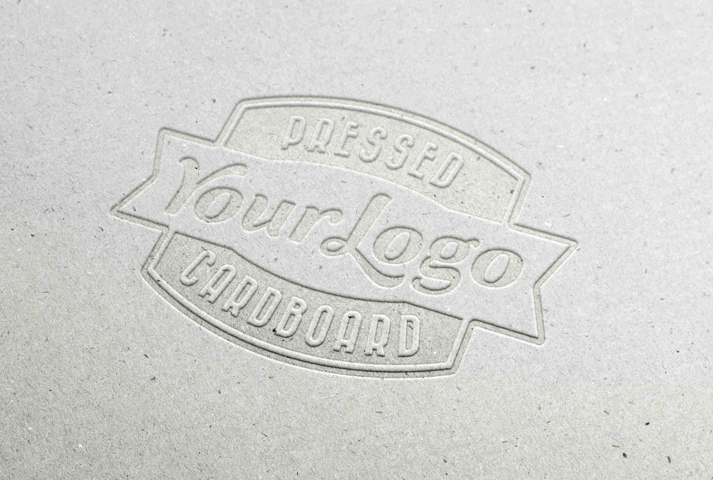 Letter Pressed Cardboard Logo MockUp