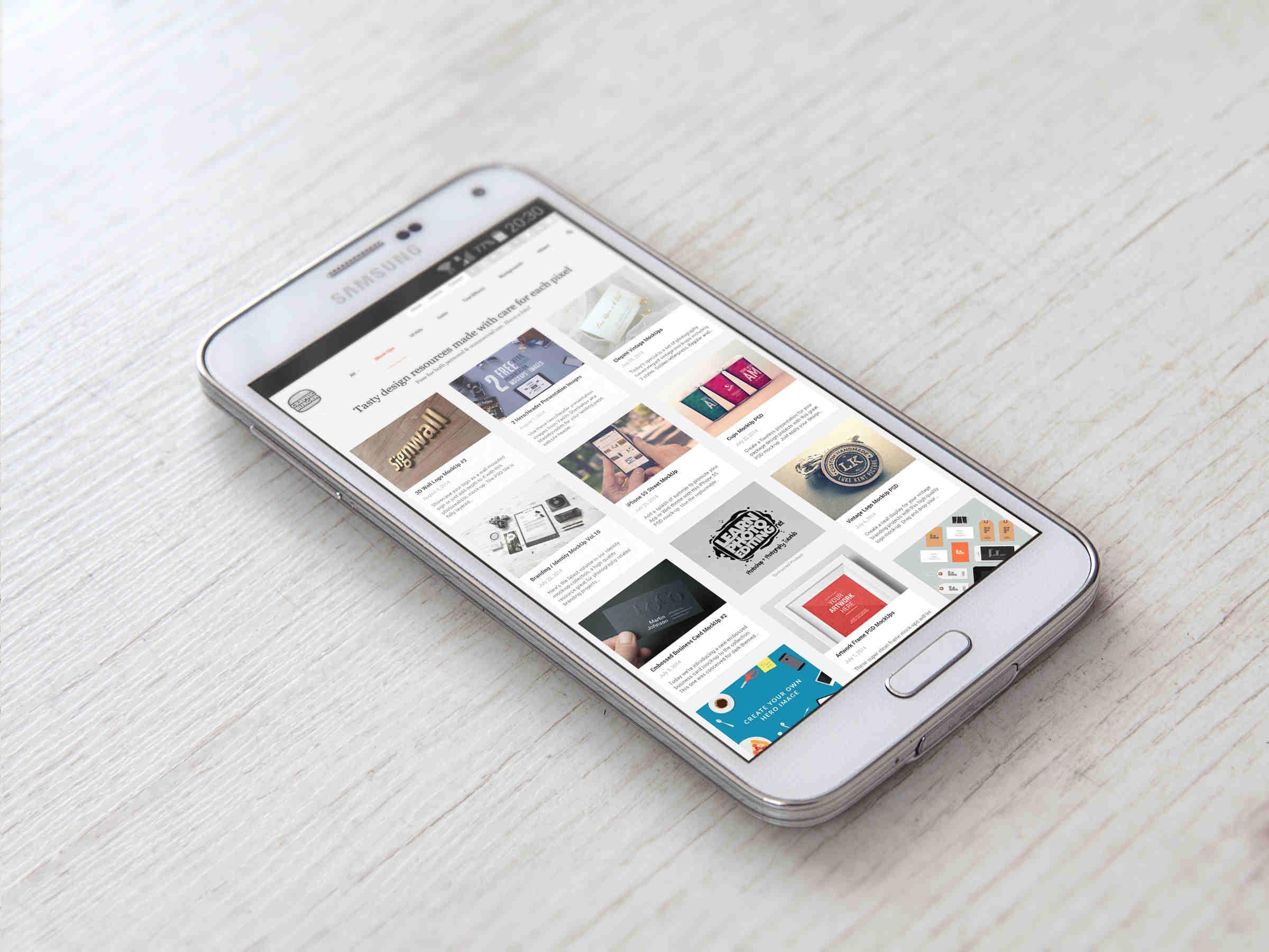 White Samsung Galaxy S5 Mockup