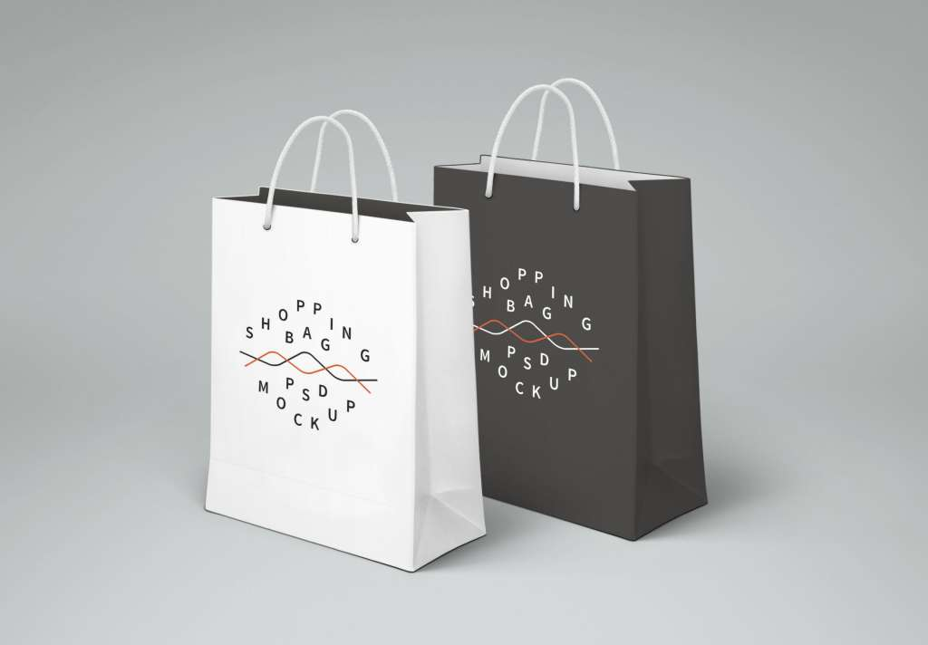 Realistic Paper Shopping Bag Mockup