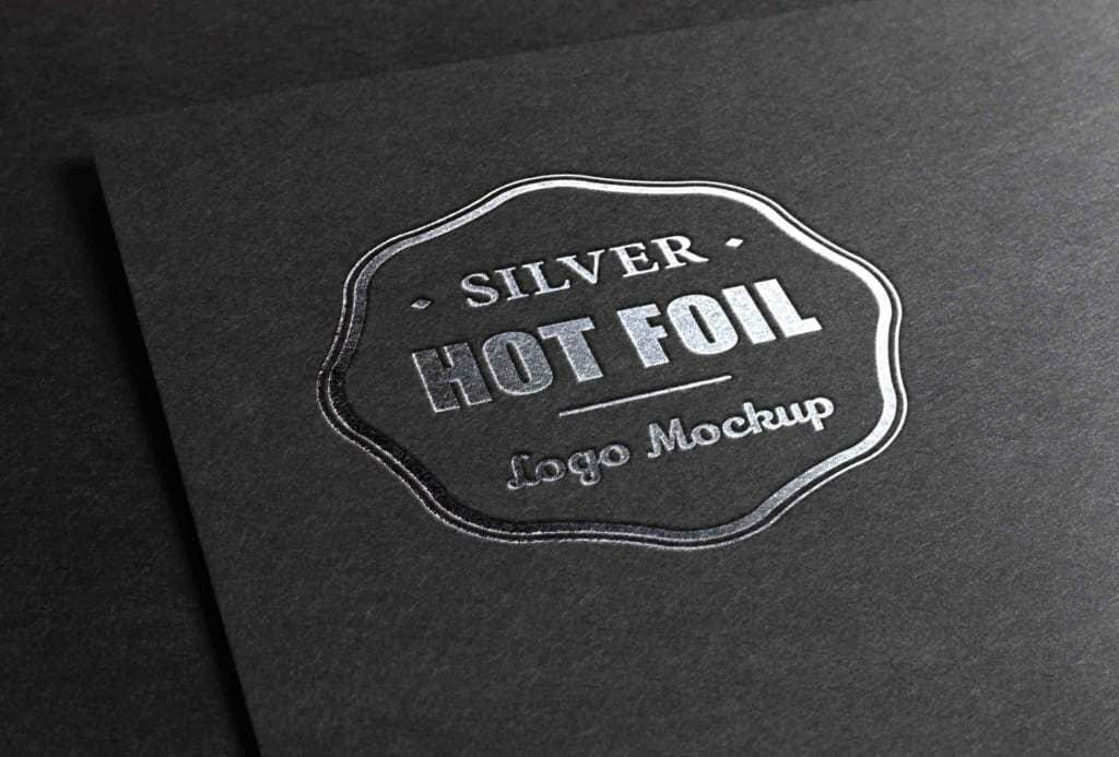 Metallic Foil Silver Stamping Logo Mockup