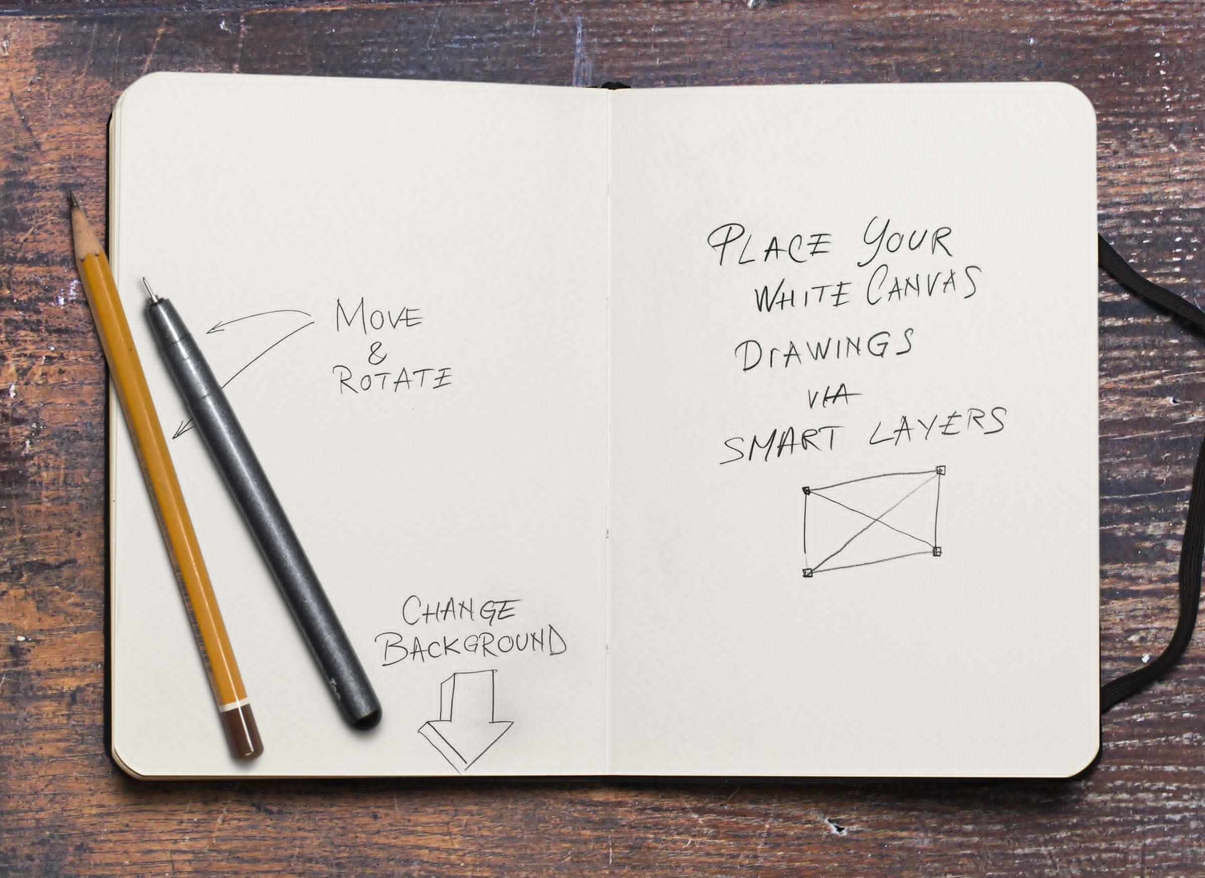 Photo Based Sketchbook Mockup