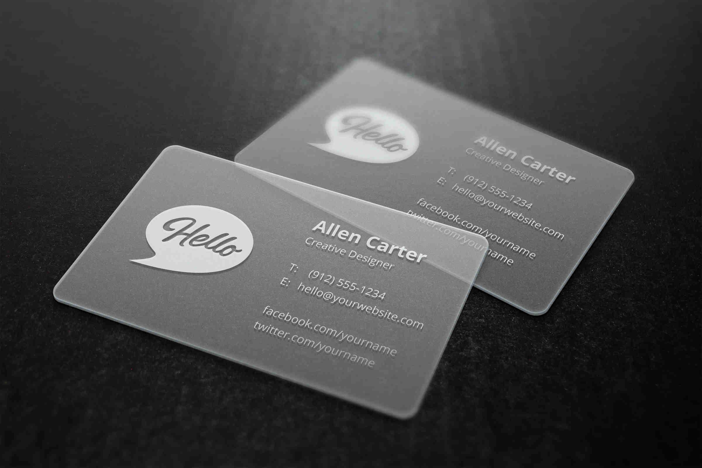Detailed Translucent Business Cards Mockup