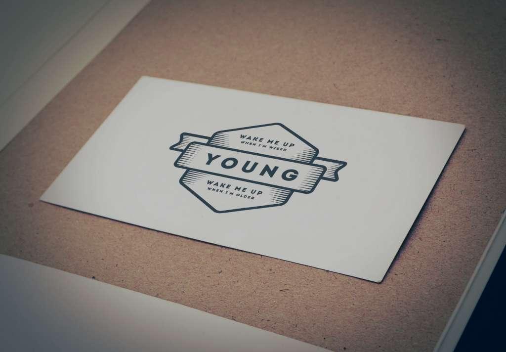 Vintage Young Labeled Logo Mockup