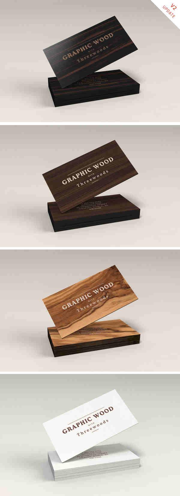 Natural Wooden Business Cards Mockup