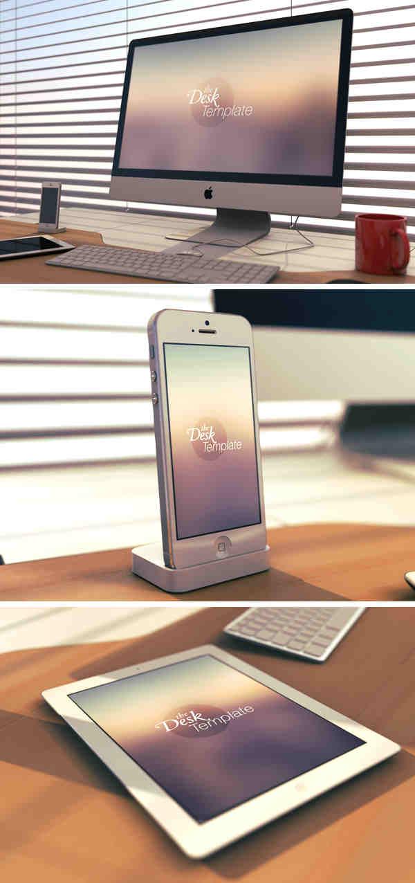 Apple Desk Template Mockup