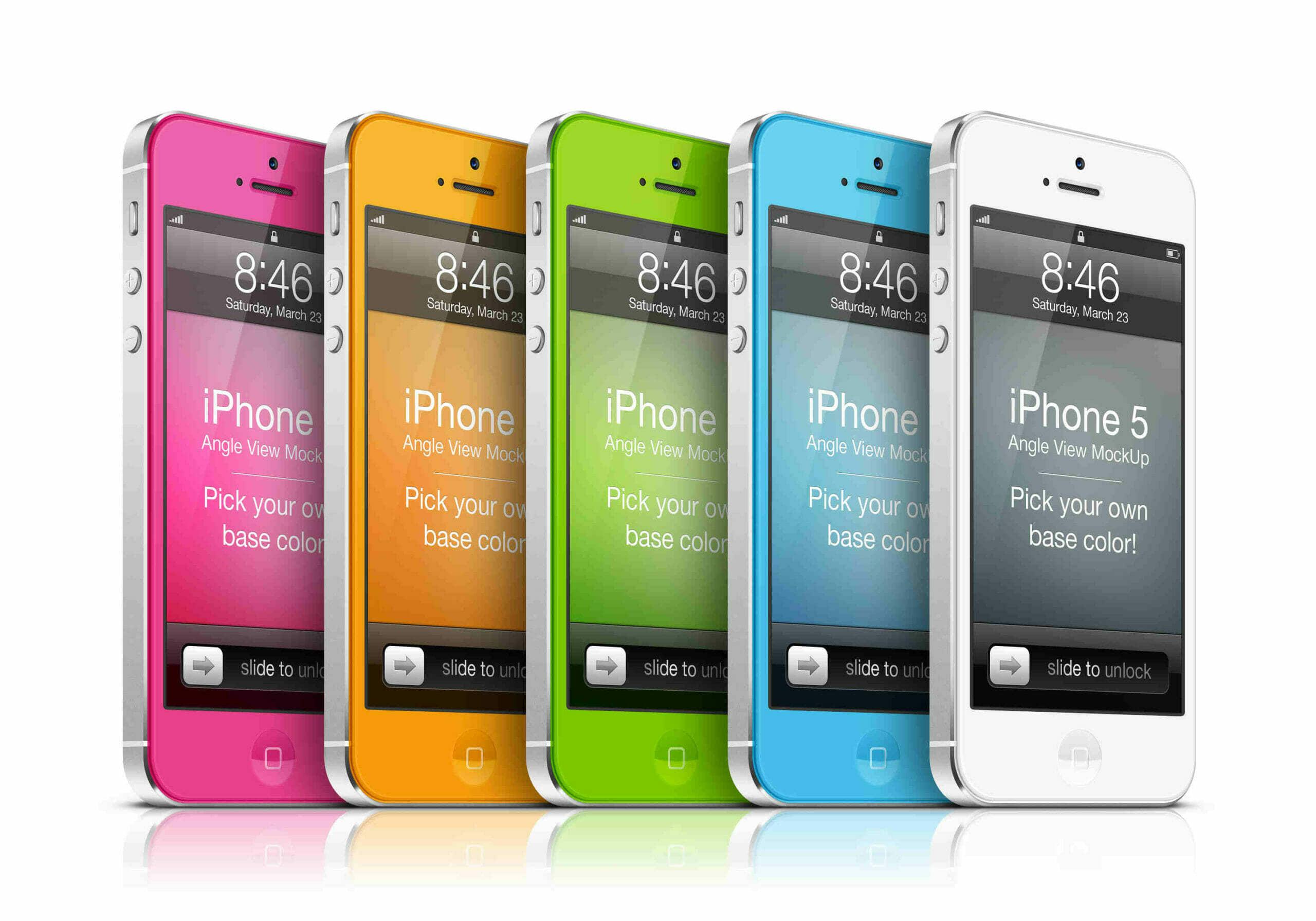Colorful iPhone 5 Angle View Mockup