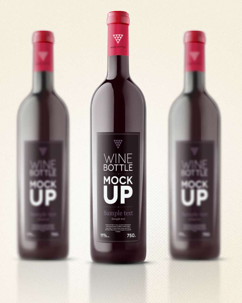 Simple Wine Bottle With a Red Cap Mockup