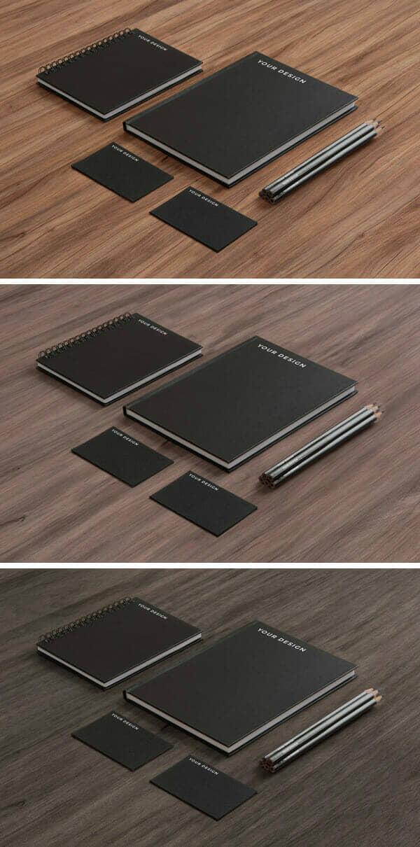 Black Paper on Wood Stationery Mockup