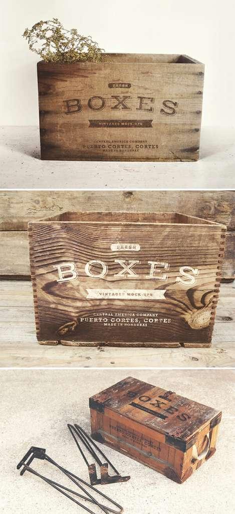 Photo-Realistic Vintage Boxes Mockup